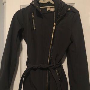 Michael Kors Olive Green Hooded Raincoat with Belt